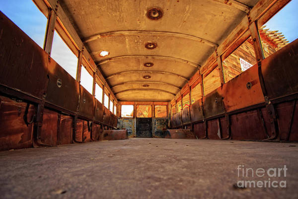 Mine Photograph - Schools Out - Inside An Old School Bus by Edward Fielding