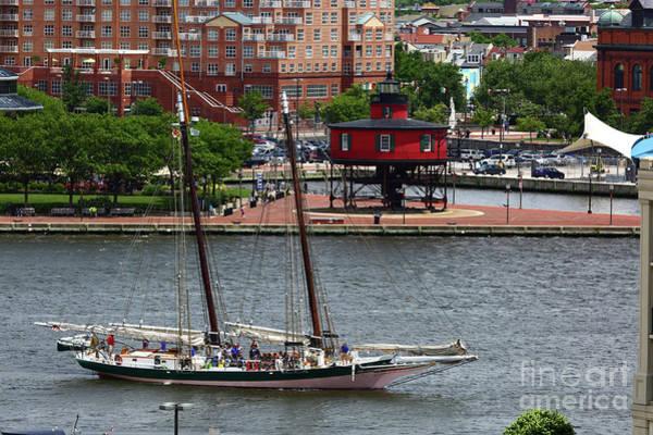 Photograph - Schooner Lady Maryland Leaving Inner Harbor Baltimore by James Brunker