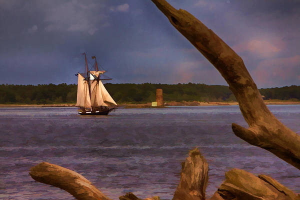 Photograph - Schooner Sailing Past Whaleback Lighthouse by Jeff Folger