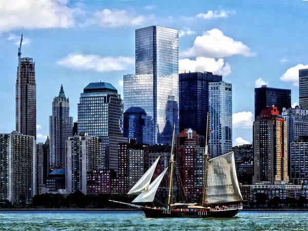 Photograph - Schooner Seen From Liberty State Park by Susan Savad
