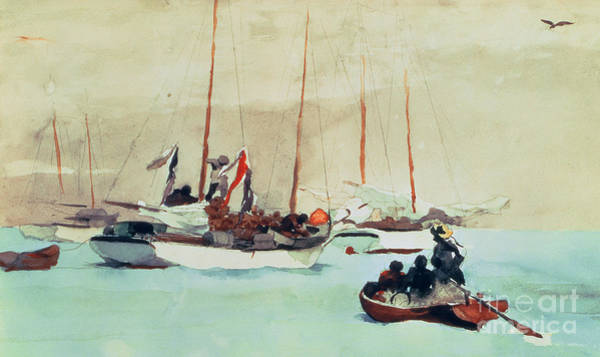 Boats Wall Art - Painting - Schooners At Anchor In Key West by Winslow Homer