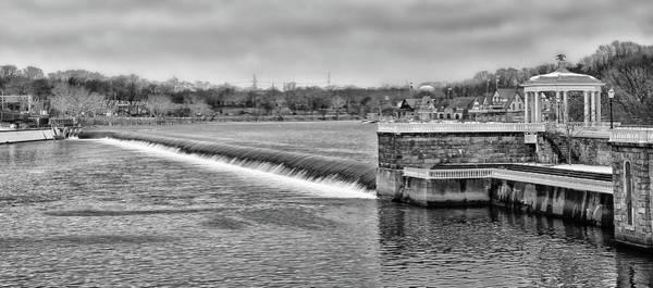 Photograph - Schuylkill River - Fairmount Dam - Philadelphia Pa In Black And White by Bill Cannon