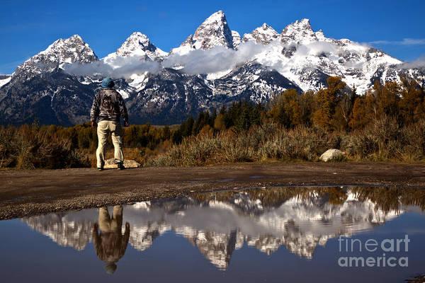 Photograph - Schwabacher Landing Hiker Reflections by Adam Jewell