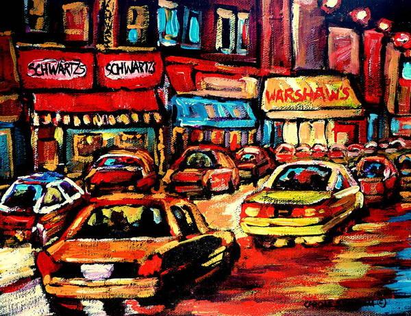 Painting - Schwartz's Deli At Night by Carole Spandau