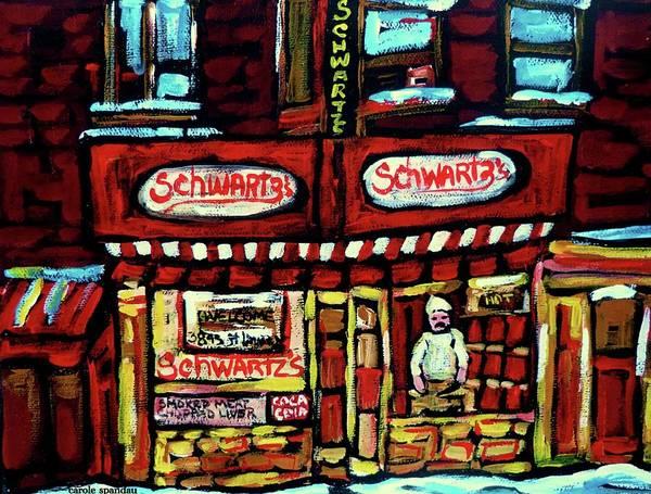 Painting - Schwartzs Deli Window Montreal At Night by Carole Spandau