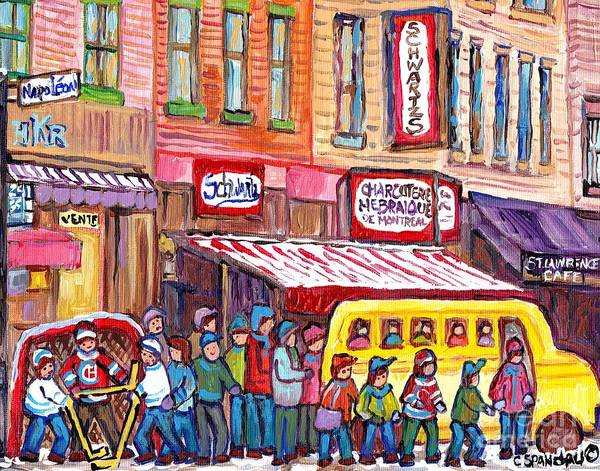 Painting - Schwartz's Smoked Meat Deli On The Main Montreal Hockey Art Scenes School Bus Painting C Spandau Art by Carole Spandau