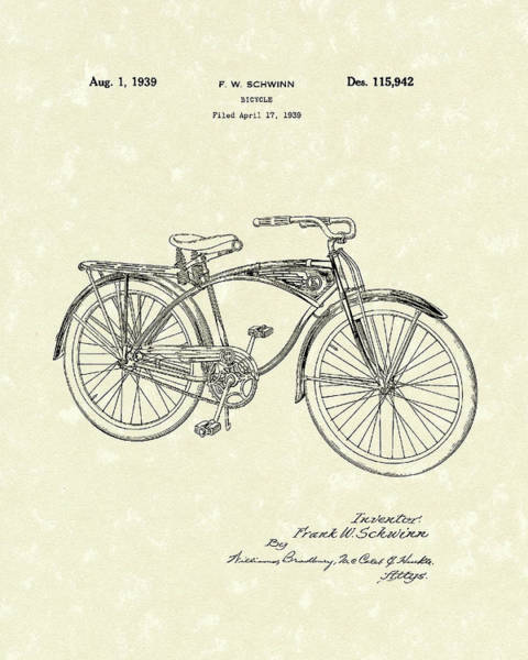 Drawing - Schwinn Bicycle 1939 Patent Art by Prior Art Design