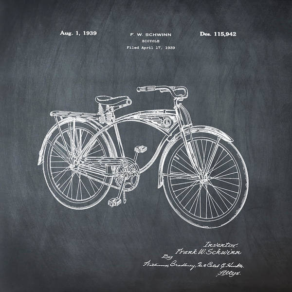 Photograph - Schwinn Bicycle 1939 Patent Chalk by Bill Cannon