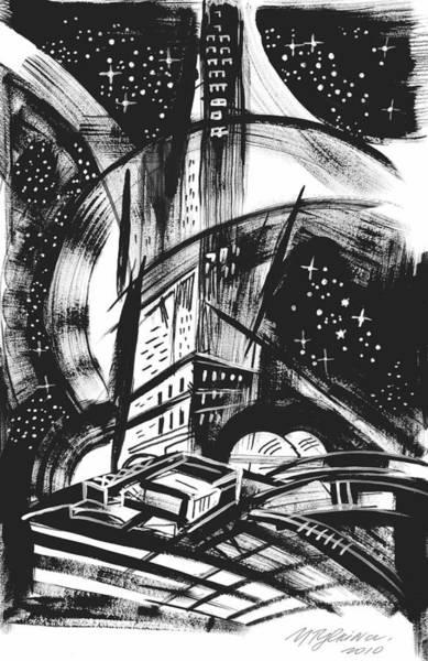 Cosmos Drawing - Sci Fi City by Yelena Tylkina