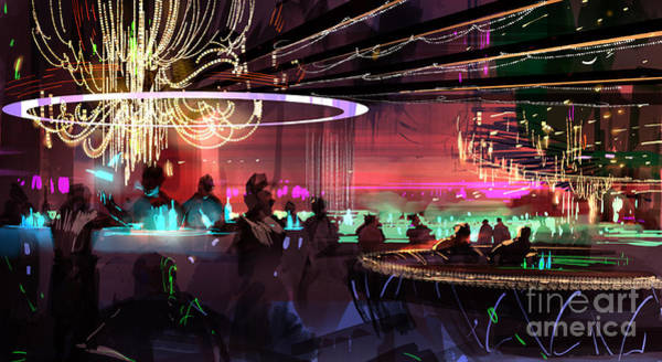 Art Print featuring the painting Sci-fi Lounge by Tithi Luadthong