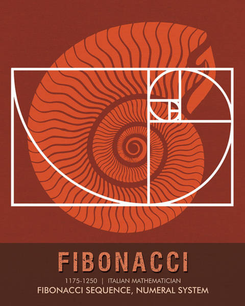 Wall Art - Mixed Media - Science Posters - Fibonacci - Mathematician by Studio Grafiikka