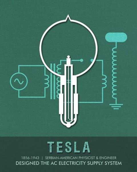 Motor Mixed Media - Science Posters - Nikola Tesla - Physicist, Engineer by Studio Grafiikka