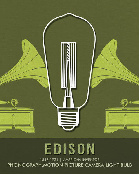 Best Selling Mixed Media - Science Posters - Thomas Alva Edison - Inventor by Studio Grafiikka