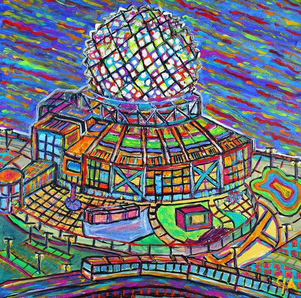 Metro Vancouver Wall Art - Painting - Science World, Vancouver, Alive In Color by Jeremy Aiyadurai