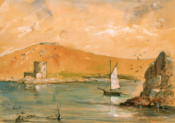 Wall Art - Painting - Scilly Islands Watercolor Painting by Juan  Bosco