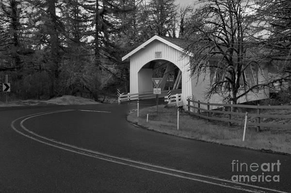 Photograph - Scio Oregon Covered Bridge - Back And White by Adam Jewell