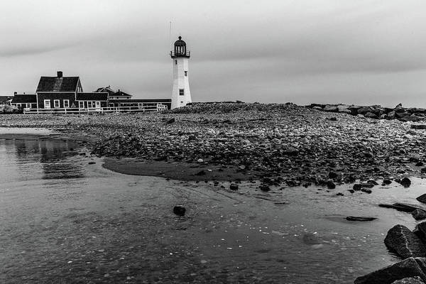 Photograph - Scituate Lighthouse And Beach In Black And White by Brian MacLean