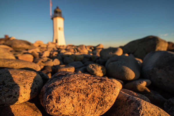 Photograph - Scituate Lighthouse Scituate Massachusetts South Shore At Sunrise Rock Detail by Toby McGuire