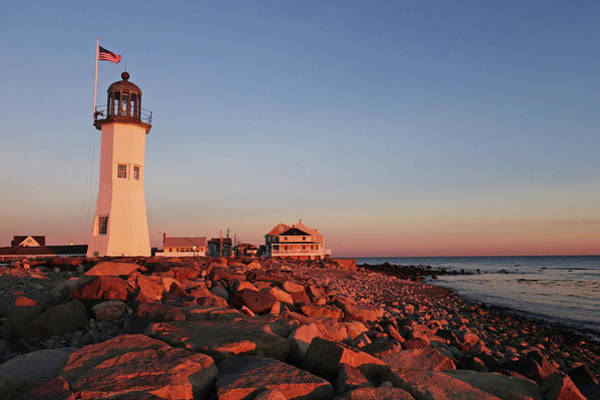 Photograph - Scituate Lighthouse Scituate Massachusetts South Shore At Sunrise Rocks by Toby McGuire