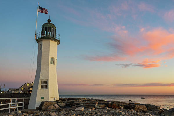 Scituate Lighthouse Scituate Massachusetts South Shore At Sunrise Art Print
