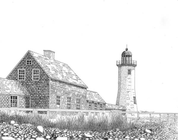 Beach Grass Drawing - Scituate Lighthouse by Tim Murray
