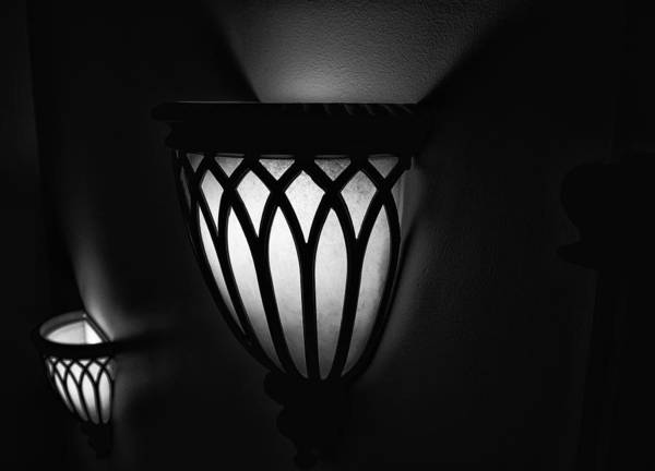 Photograph - Sconces Illuminating The Dark by Gary Karlsen