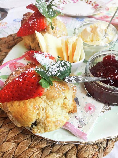 British Food Photograph - Scones And Jam by Tom Gowanlock