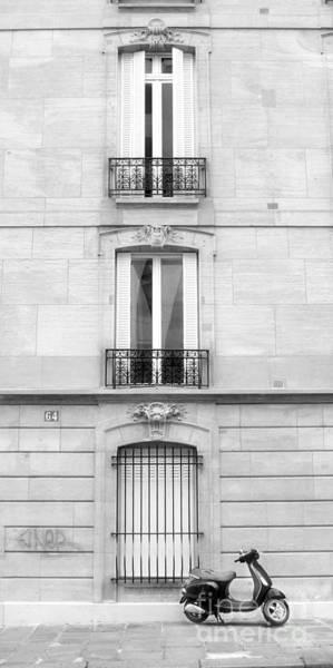 Photograph - Scooter Au Paris Black And White by Angela Rath