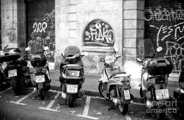 Photograph - Barcelona Scooters On La Rambla by John Rizzuto