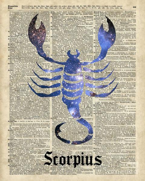 Wall Art - Digital Art - Scorpius Scorpion Zodiac Sign  by Anna W