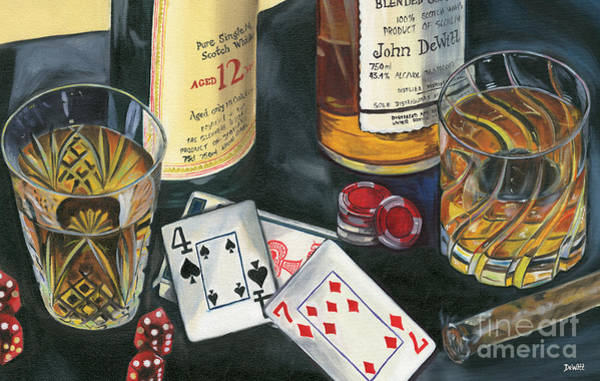 Whiskey Wall Art - Painting - Scotch Cigars And Cards by Debbie DeWitt