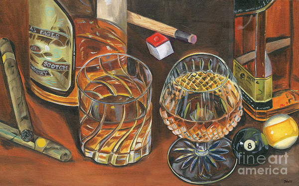 Scotch Wall Art - Painting - Scotch Cigars And Poll by Debbie DeWitt