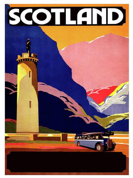 Wall Art - Digital Art - Scotland, Bus Tour, Vintage Travel Poster by Long Shot