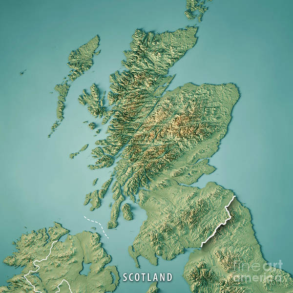 Wall Art - Digital Art - Scotland Country 3d Render Topographic Map Border by Frank Ramspott