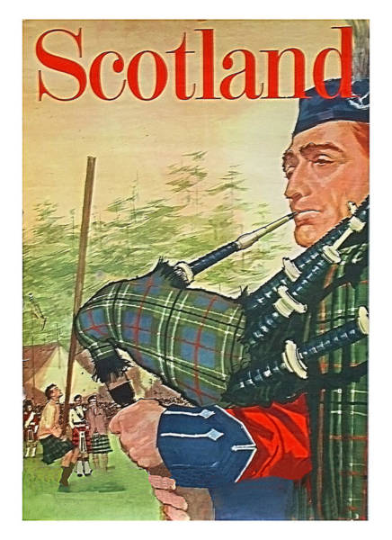 Scotland,traditional Man Playing Bagpipes,travel Poster Art Print