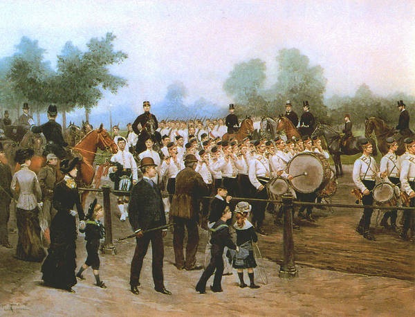 Marching Band Painting - Scots Band In The Park by Mountain Dreams