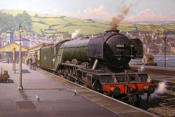 Railroad Station Painting - Scotsman At Kingswear by Mike Jeffries