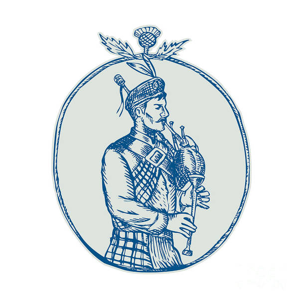 Bagpipe Wall Art - Digital Art - Scotsman Bagpiper Playing Bagpipes Etching by Aloysius Patrimonio