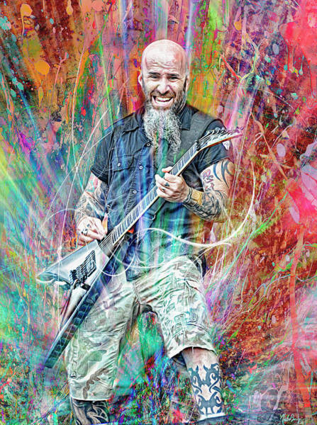 Jeff Hanneman Wall Art - Mixed Media - Scott Ian, Anthrax by Mal Bray