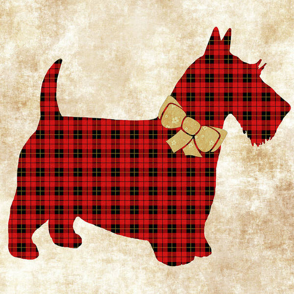 Wall Art - Mixed Media - Scottie Dog Plaid by Christina Rollo