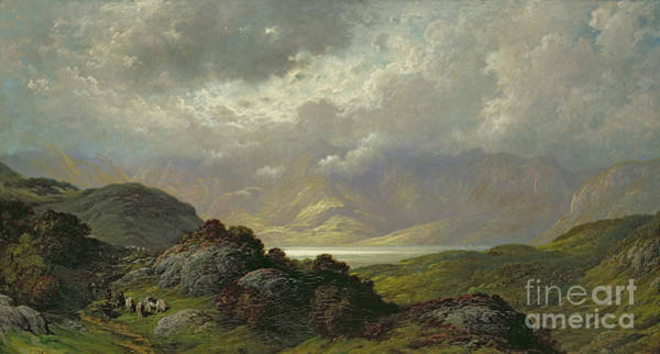 Mountain Lake Painting - Scottish Landscape by Gustave Dore