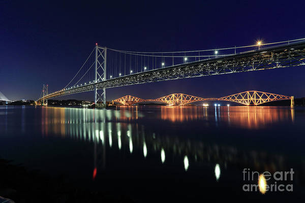 Photograph - Scottish Steel In Silver And Gold Lights Across The Firth Of Forth At Night by Maria Gaellman