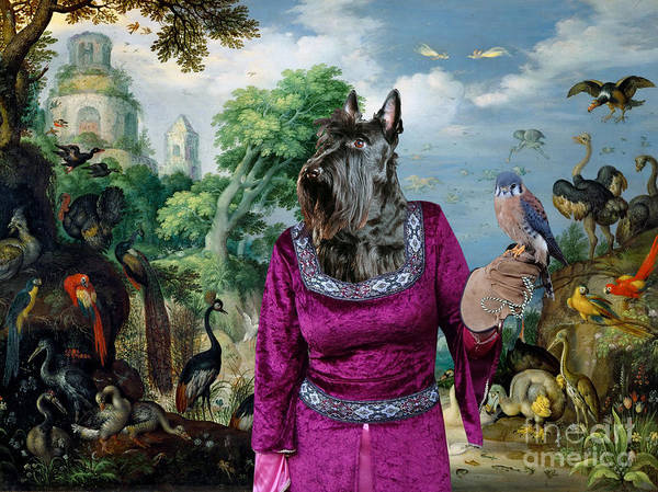 Wall Art - Painting - Scottish Terrier Art - Landscape With Lady Falconer And Birds by Sandra Sij