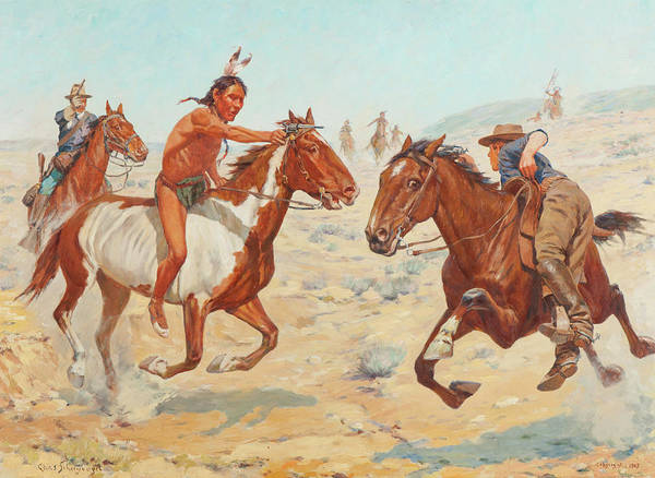 Artifact Painting - Scouts Fighting by Charles Schreyvogel