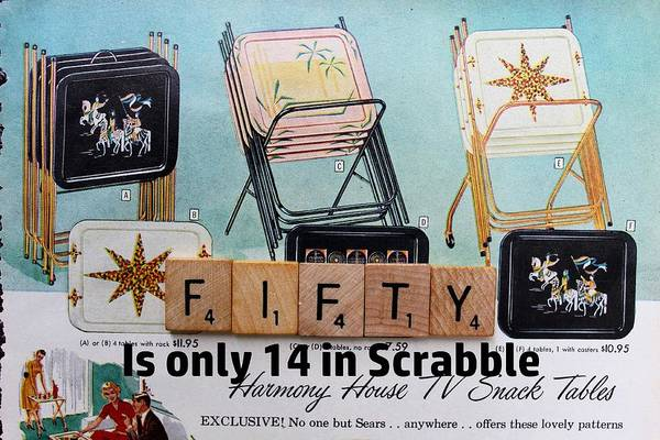 Wall Art - Photograph - Scrabble Birthday Card Fifty Tv Tray Vintage by Jane Linders