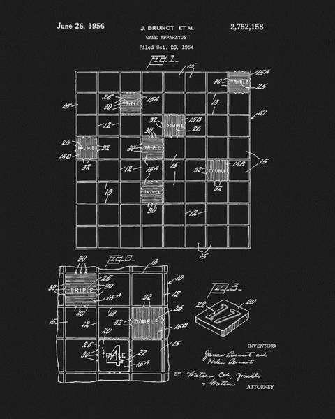 Drawing - Scrabble Game Board Patent by Dan Sproul