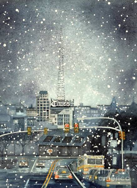 Electric Blues Painting - Scranton Times - Auld Lang Syne by Janine Riley