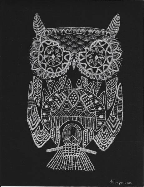 Hooter Drawing - Scratchart Owl by Donna Coupe
