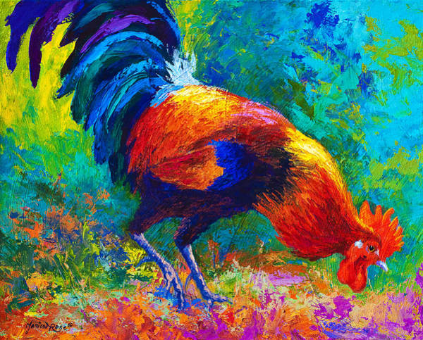 Hen Painting - Scratchin' Rooster by Marion Rose