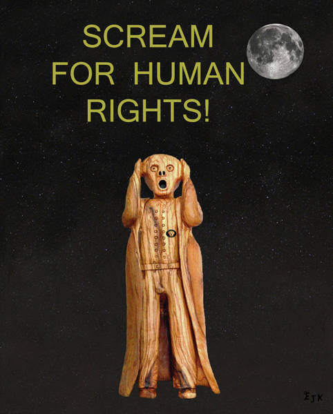 Mixed Media - Scream For Human Rights by Eric Kempson